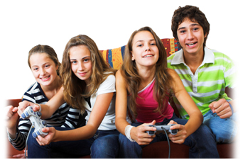 pictures of kids playing video games