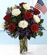 patriotic flowers, romantic 4th of July bouquet