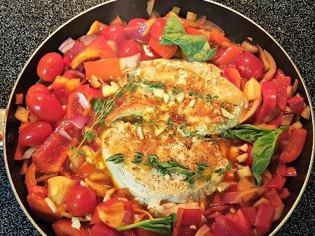 One-Skillet Basque Chicken