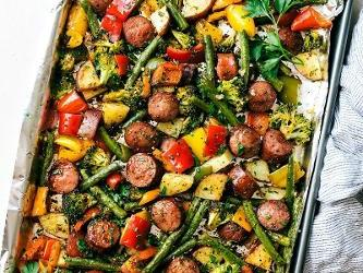 One Pan Garlic Parmesan Veggies and Sausage