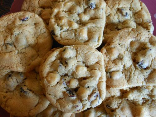 White chocolate chip/cranberry cookies.