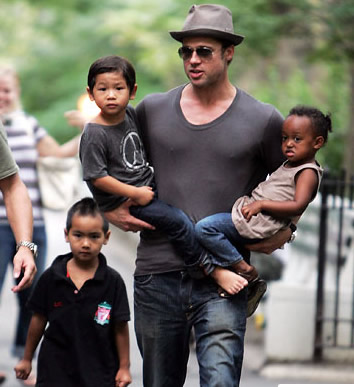 Brad Pitt Serves Up A Soda Breakfast To His Brood