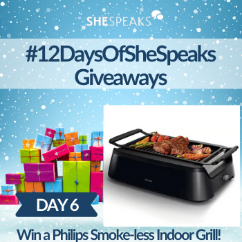 12 Days of SheSpeaks, Day 6: Win a Philips  Smoke-less Indoor Grill!