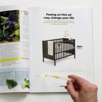 Ikea Ad Offers Pregnancy Tests Inside a Print Ad To Reveal Discounted Crib