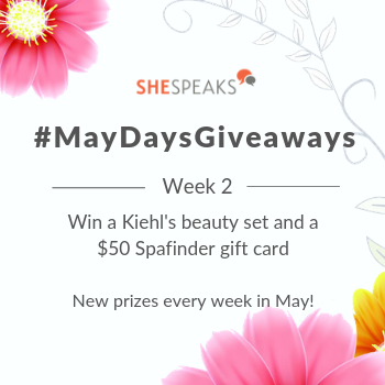 #MayDaysGiveaways: Happy Mother's Day! Enter to Win a Kiehl's Beauty Set & $50 Spafinder Gift Card