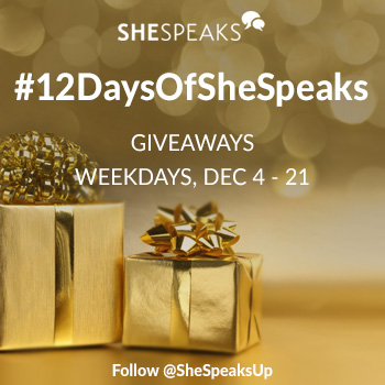 Our  #12DaysOfSheSpeaks Holiday Giveaways Line-Up