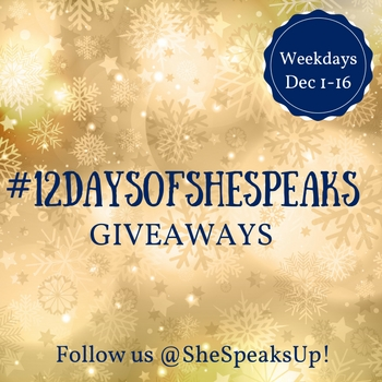 Exciting News! Announcing Year Two of our #12DaysOfSheSpeaks Holiday Giveaways!