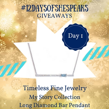 #12DaysOfSheSpeaks Day 1: Win a Timeless Fine Jewelry My Story Collection Long Diamond Bar Pendant