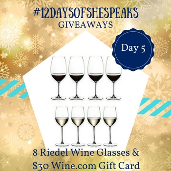#12DaysOfSheSpeaks Day 5: Toast the Holidays with @RiedelUSA Wine Glass Set & Wine.com Gift Card