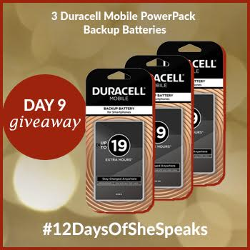 #12DaysOfSheSpeaks Day 9: Win Three Duracell Mobile Battery Backups