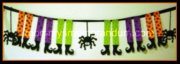 Halloween Witches' Shoes and Spiders Banner