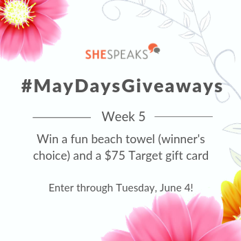 Last #MayDaysGiveaways: Enter to Win a Fun Beach Towel & $75 Target Gift Card!
