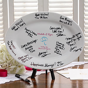 shower bridal platter showers happiness personalized keepsake signature personalizationmall messages date name shespeaks couple plenty favors handwritten guests pricing special