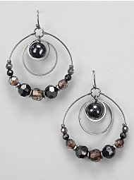 New York & Company Triple Hoop & Drop Beaded Earrings